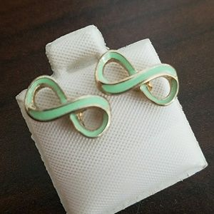 Mint green infinity gold tone stud earrings New